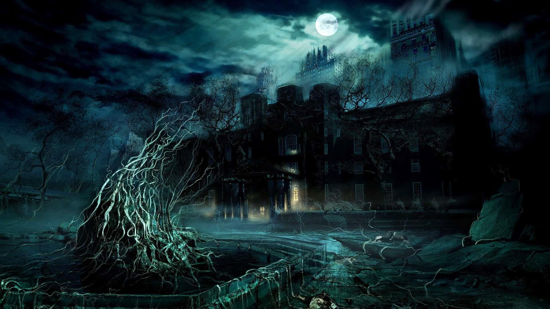 Moonlit Fantasy Mansion 3d Wallpaper Moonlight Moon Gothic