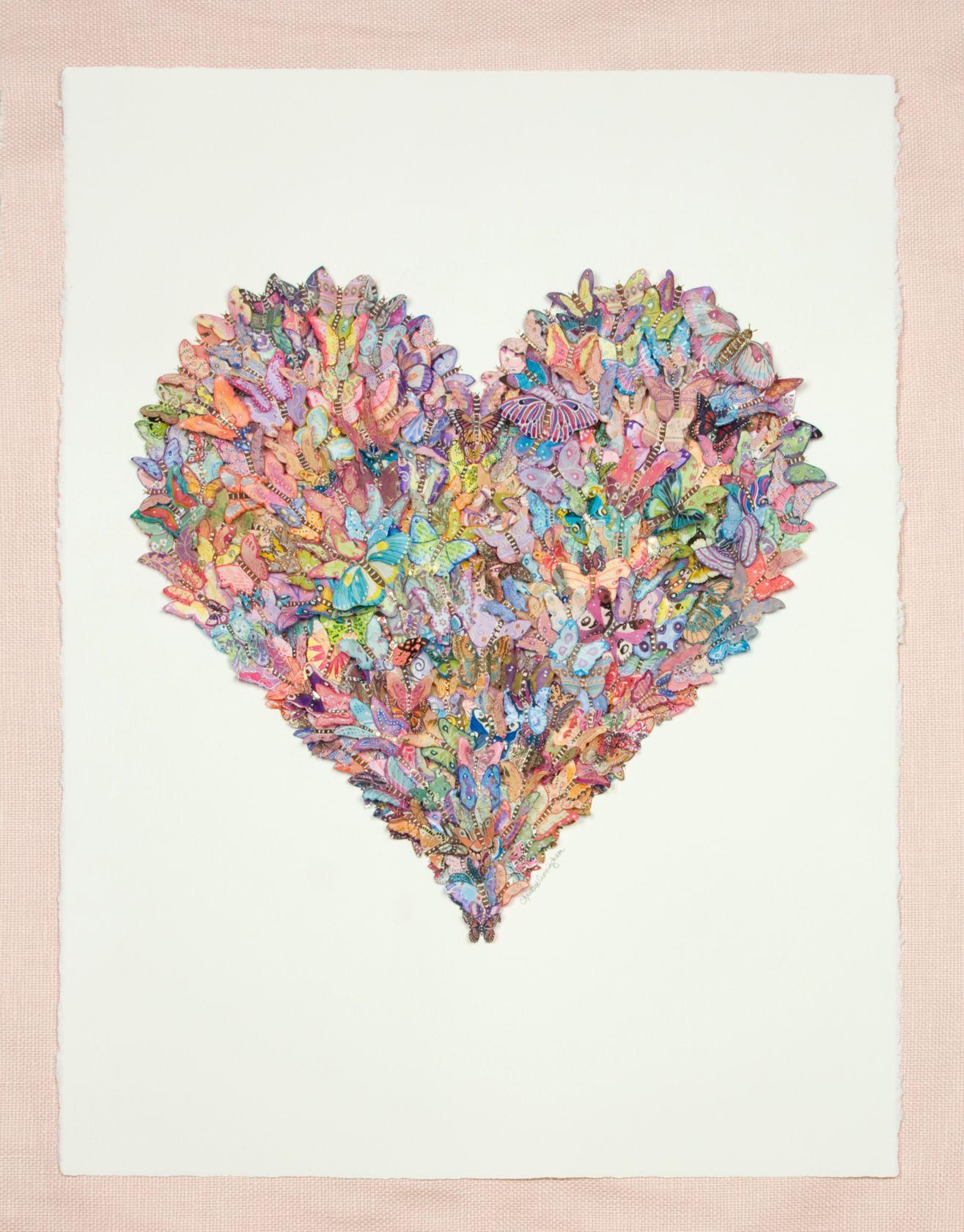 Collage de mariposas, bonita composición formando un corazón ...