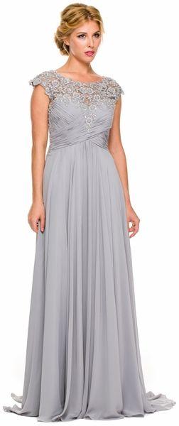5ec720fe5d6 Plus Size Silver Formal Gown Cap Sleeve Empire Waist Full Length ...