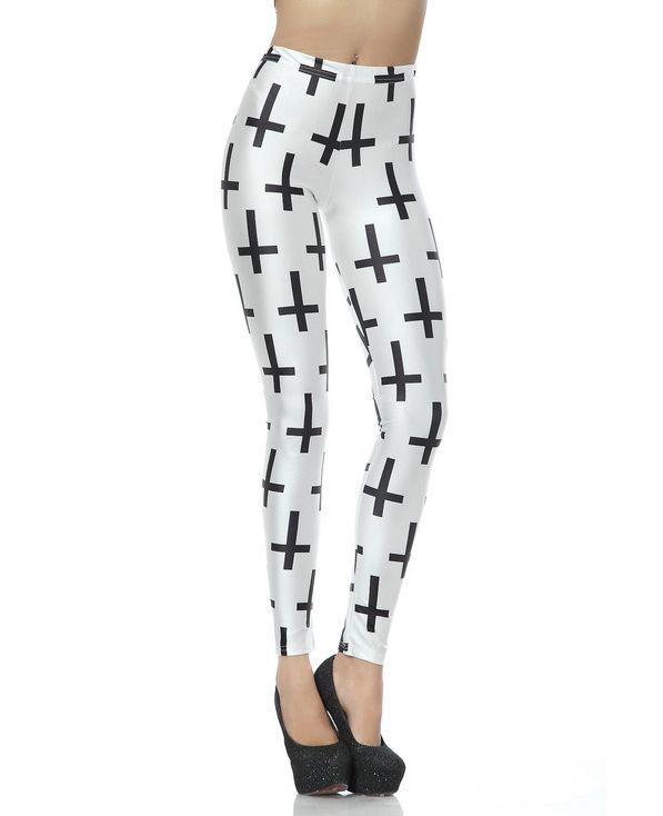 Black Cross Print White Leggings | BlackFive