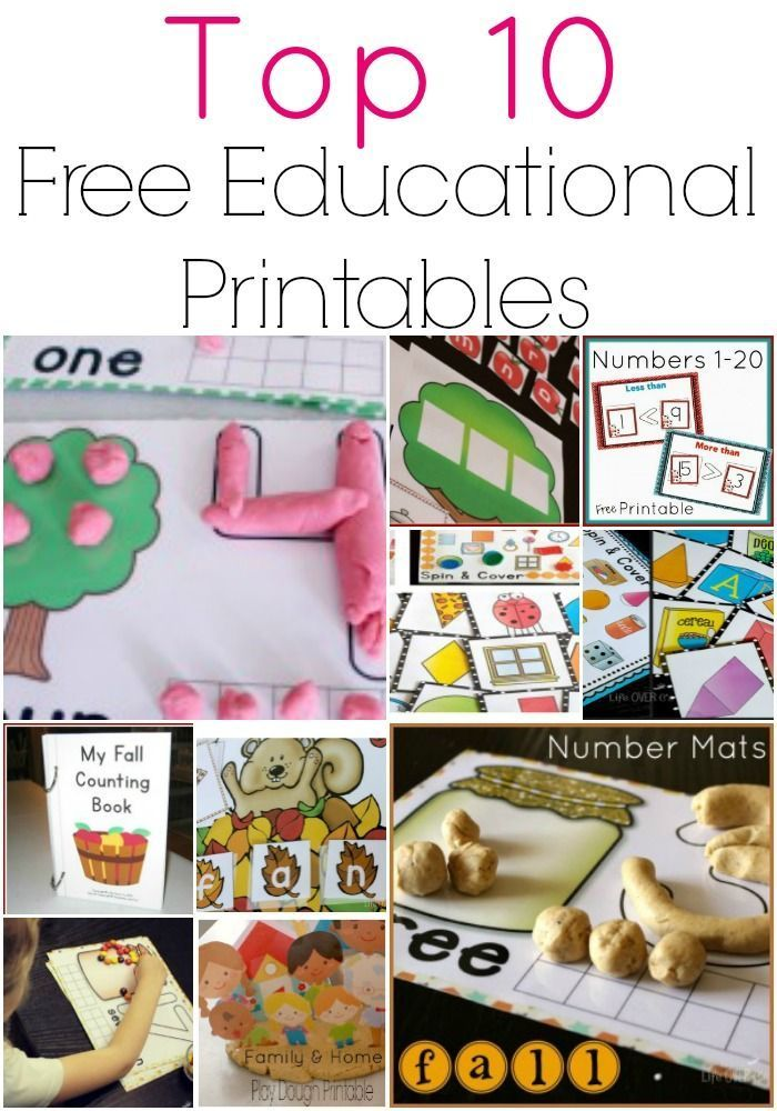 Top 10 Free Printables for Learning | Free printables, Pre-school ...