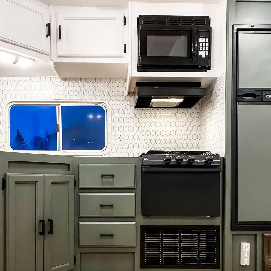 Matte Black Cabinet Door Hinges January 5 2020 Magnetic Cabinet Latches January 5 2020 Matte Black Drawe In 2020 Painting Cabinets Camper Flooring Diy Camper Remodel