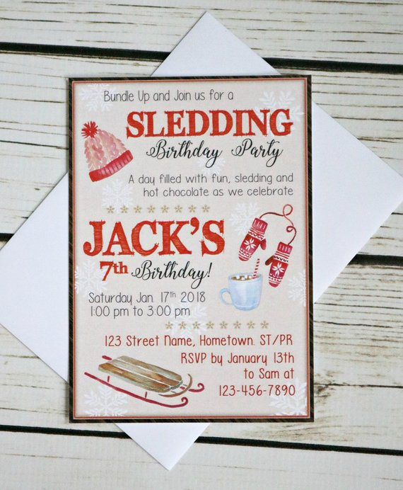 Boy Winter Birthday Invitation Sledding Birthday Invite Winter