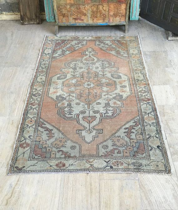 Turkish Rug 4 5x7 3ft Vintage Oushak Handmade Kitchen Runner