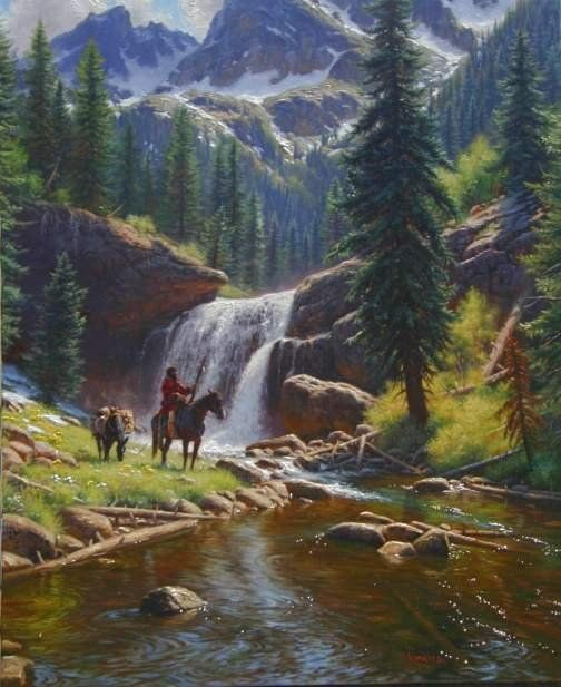 The Adventurer By Mark Keathley Waterfall River Mountains Pine Trees Mountain Man On Horseback Pack Mule Fantasy Landscape Beautiful Landscapes Nature