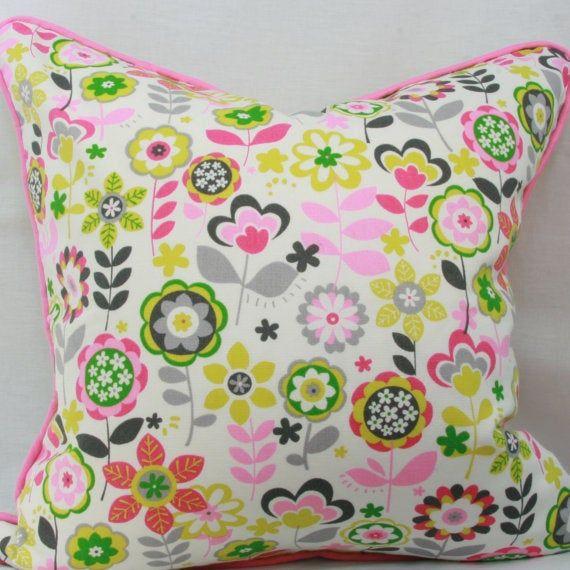 Pink green floral decorative throw pillow cover 20x20 pillow cover Pink children's pillow Girl's pil