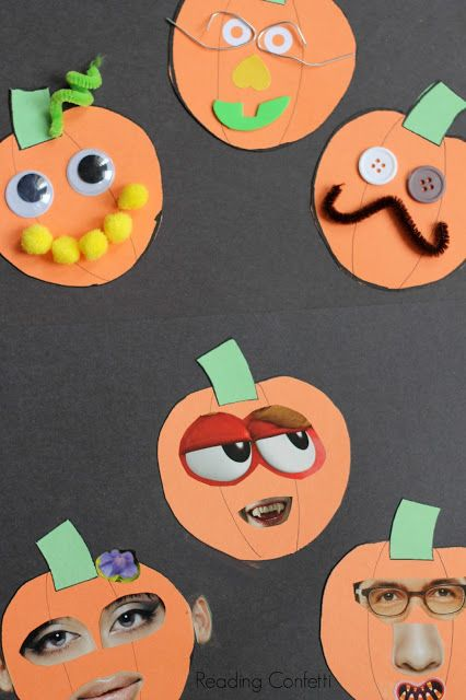 Easy jack o' lantern collage craft for preschoolers - #halloween