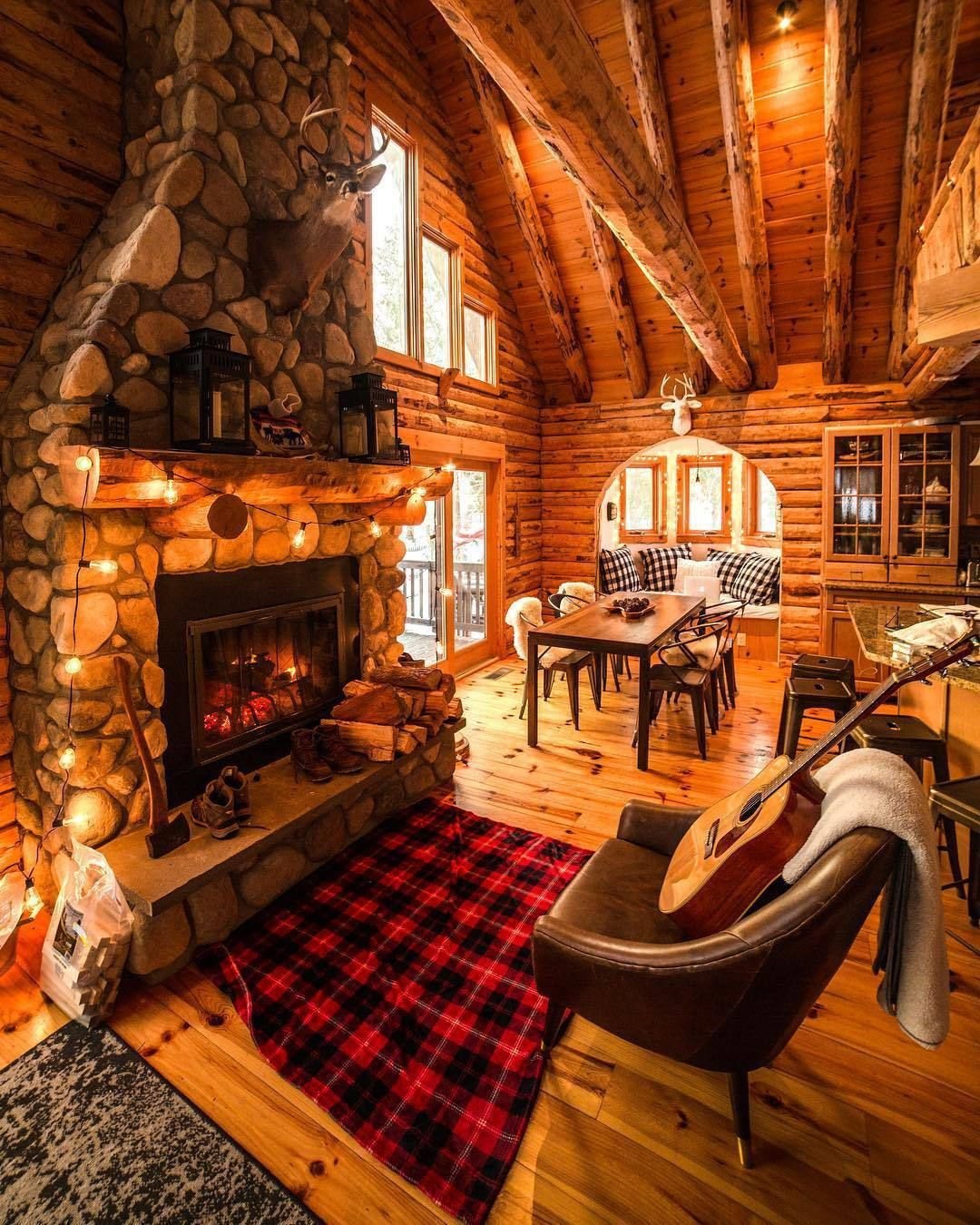 Cozy Winter Fall Guitar Fireplace Cabin Cozycabin Cottage