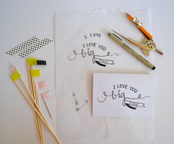 Stationery Set - 4 Cards - 4x5.5 Folded Cards -  Love You Big Time - Hand Drawn on Etsy, $12.00