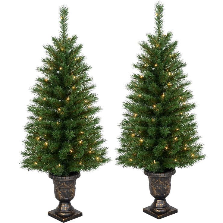E14 2-Pack Pre-Lit Porch Christmas Trees - 4 ft. | Outdoor ...