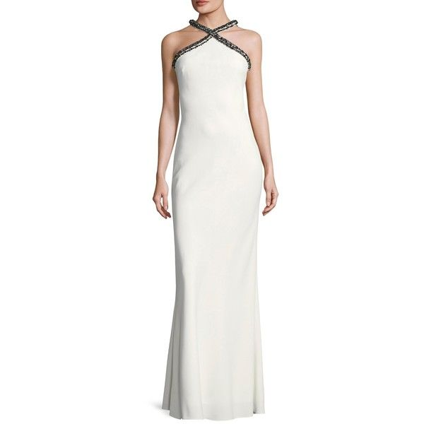 Karl Lagerfeld Women\'s Cross-Neck Embellished Gown - White, Size 10 ...