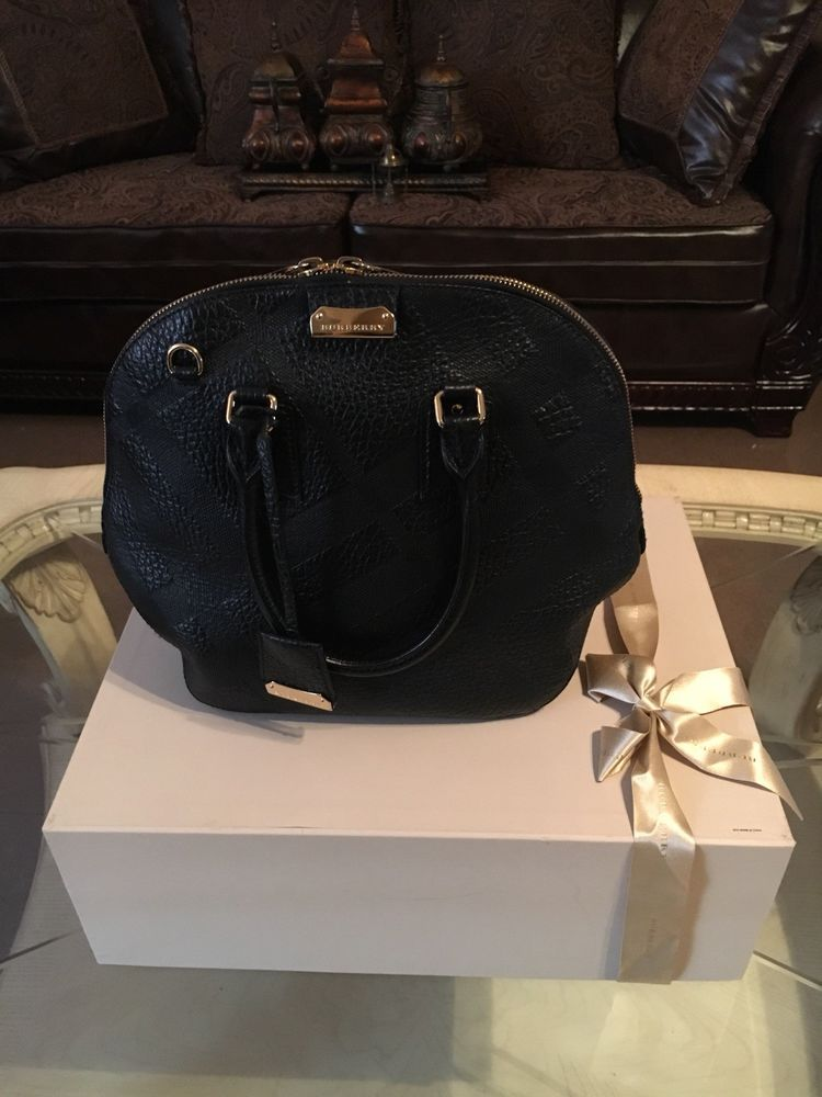 2cf7c133fc2f Burberry Authentic Medium Black Leather Tote with Embossed Print  fashion   clothing  shoes