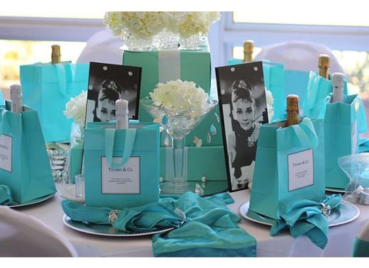 Forget a tea party theme I want a Breakfast at Tiffany's themed bridal shower.... :)