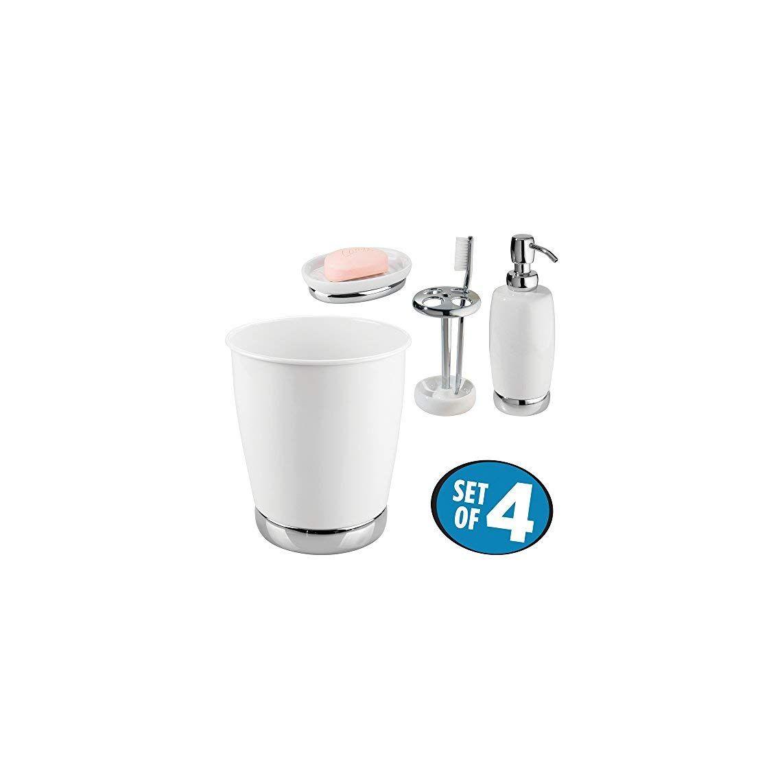 Mdesign Bath Accessory Set Soap Dispenser Pump Toothbrush Holder