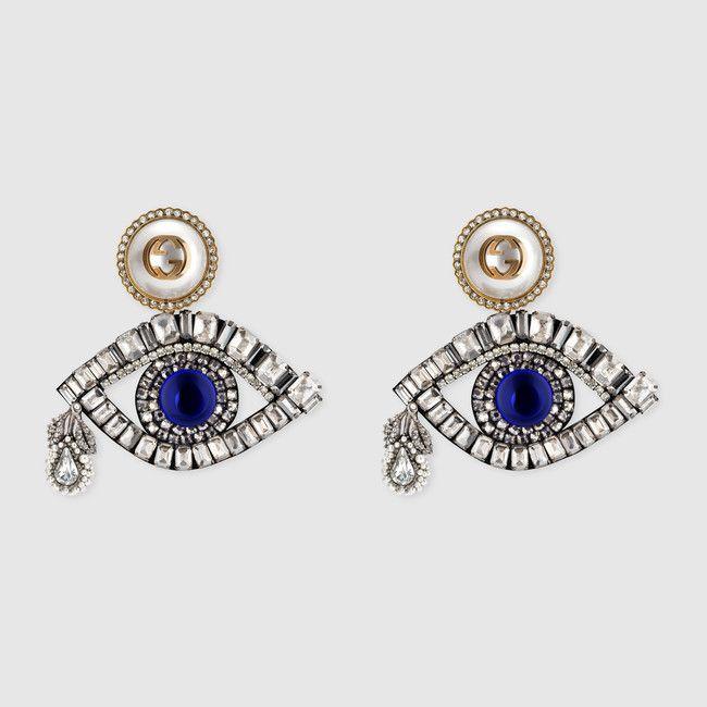 le migliori scarpe aspetto dettagliato venduto in tutto il mondo Gucci Orecchini a forma di occhio con cristalli | Gucci jewelry ...