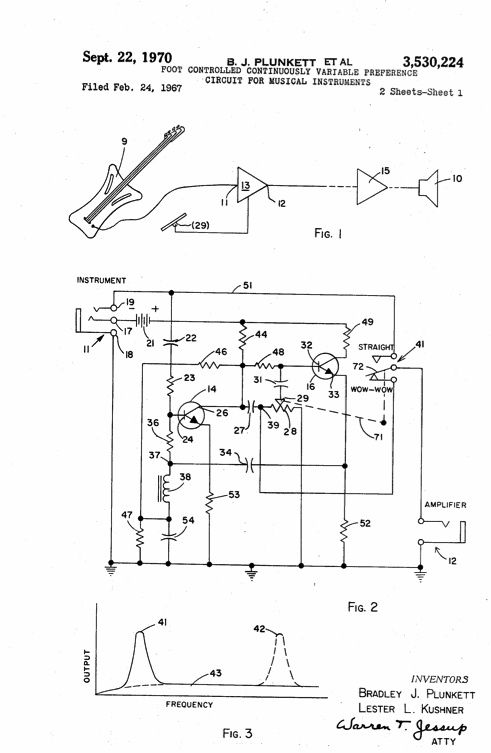 the patent for the invention of the wah wah pedal was filed on february  24th 1967, but was not officially notarized until september 22nd 1970