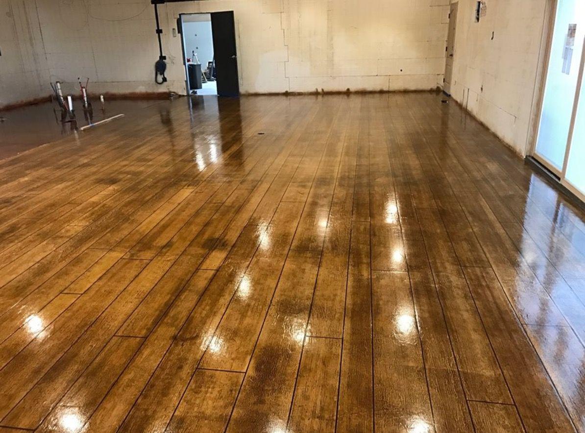 Concrete stained floors made to look like hardwood floors