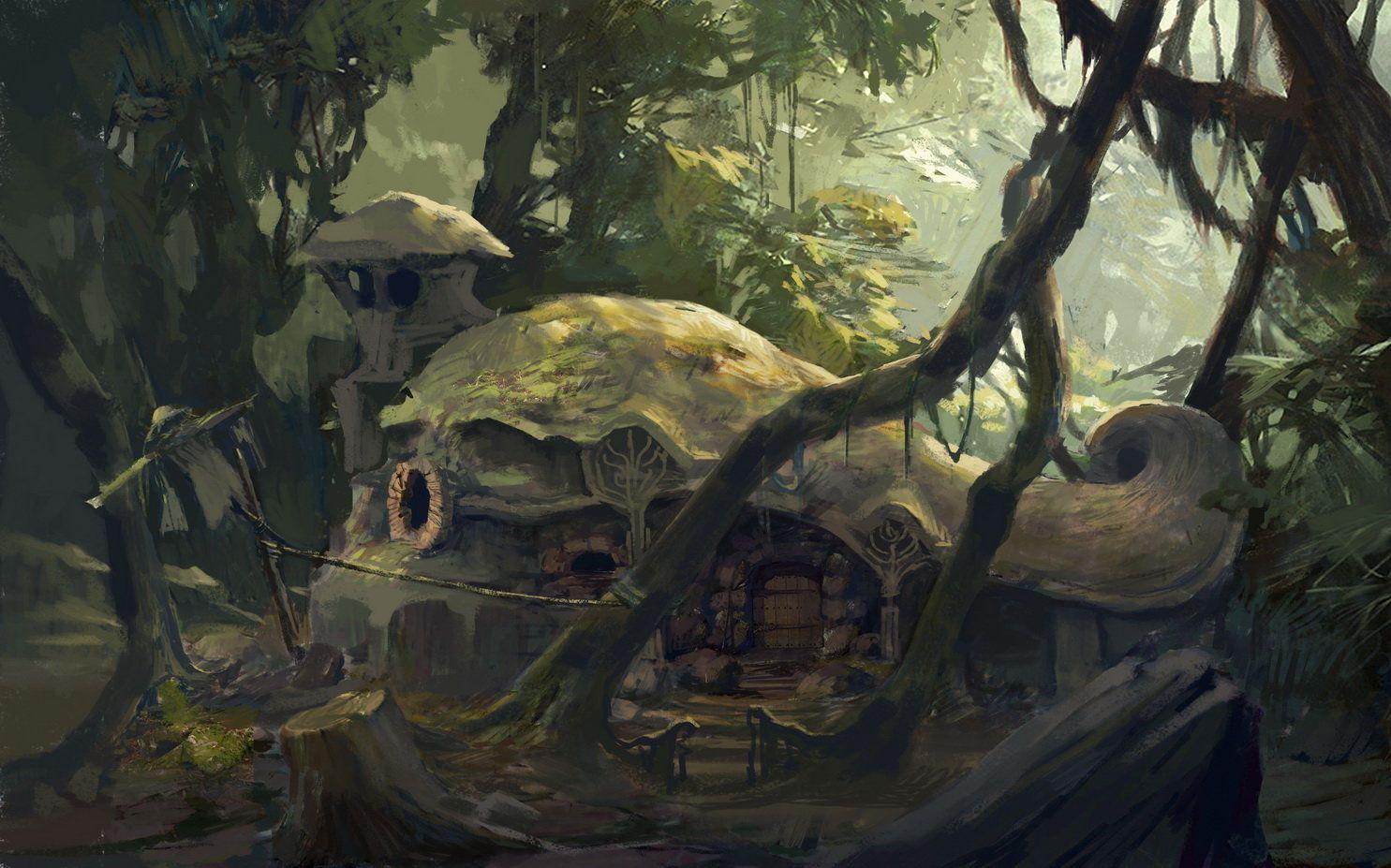 Forest cabin, tao xian on ArtStation at https://www.artstation.com/artwork/eJoxw
