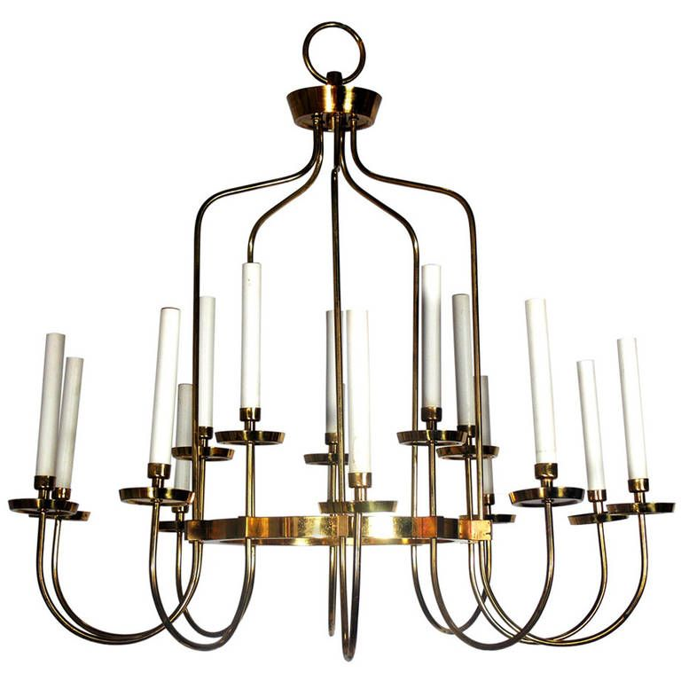 Large Scale Brass Chandelier in the Manner of Tommi Parzinger | From a unique collection of antique and modern chandeliers and pendants  at http://www.1stdibs.com/furniture/lighting/chandeliers-pendant-lights/