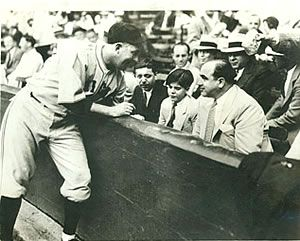Al Capone with his son at a Chicago Cubs game