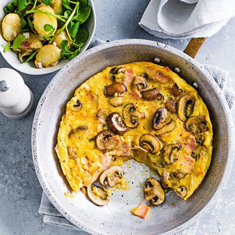 Mushroom Ham Frittata With Potato Salad Healthy Recipe Ww Uk Recipe Ham Frittata Weightwatchers Recipes Stuffed Mushrooms