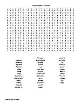 Ancient Rome and Christianity Vocabulary Word Search for