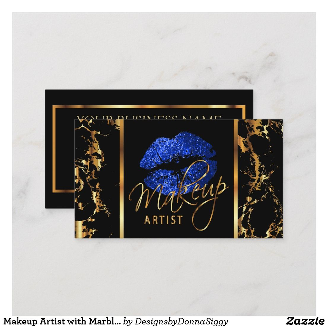Makeup Artist with Marble Gold & Blue Accents Business