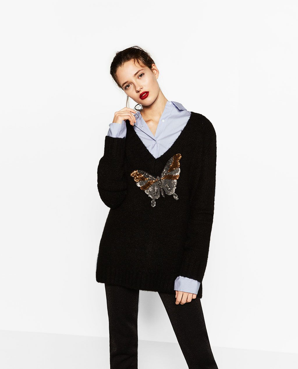 ZARA - WOMAN - V-NECK SWEATER WITH A BUTTERFLY APPLIQUÉ | Fashion ...