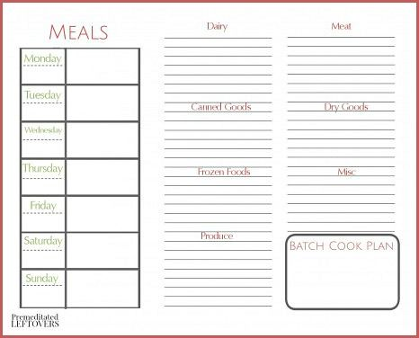 Free Printables Including A Weekly Meal Plan Month Menu Plan