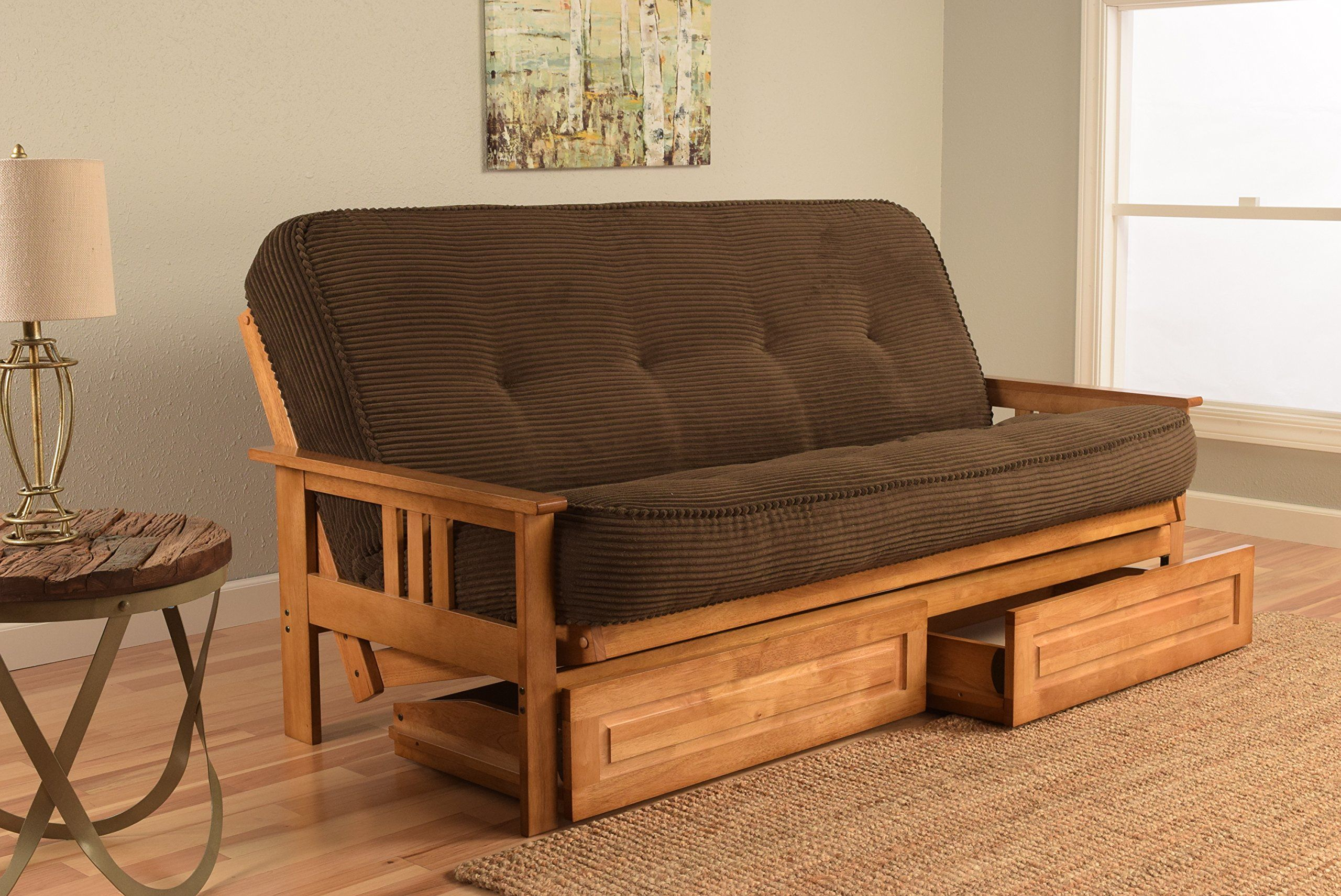 Kodiak Furniture Kfmodbttesplf5md4 Monterey Futon Set With Ernut Finish And Storage Drawers Full Tantra Espresso