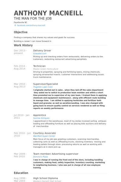resume examples delivery driver resume examples pinterest