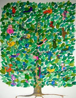 thumb print trees with drawn birds--auction project - this is similar to what Lizzy and Tim did for their 2nd grade class