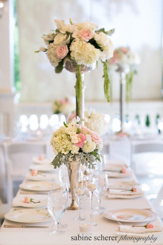 Romantic Vintage Style Wedding Reception High And Low Silver Vases