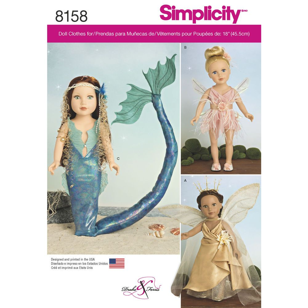"""Get these imaginative fantasy costumes for 18"""" dolls designed by Drake & Ferris. Pattern includes two fairy costumes with wings included, and dragon costume with dragon tail. Simplicity sewing pattern."""
