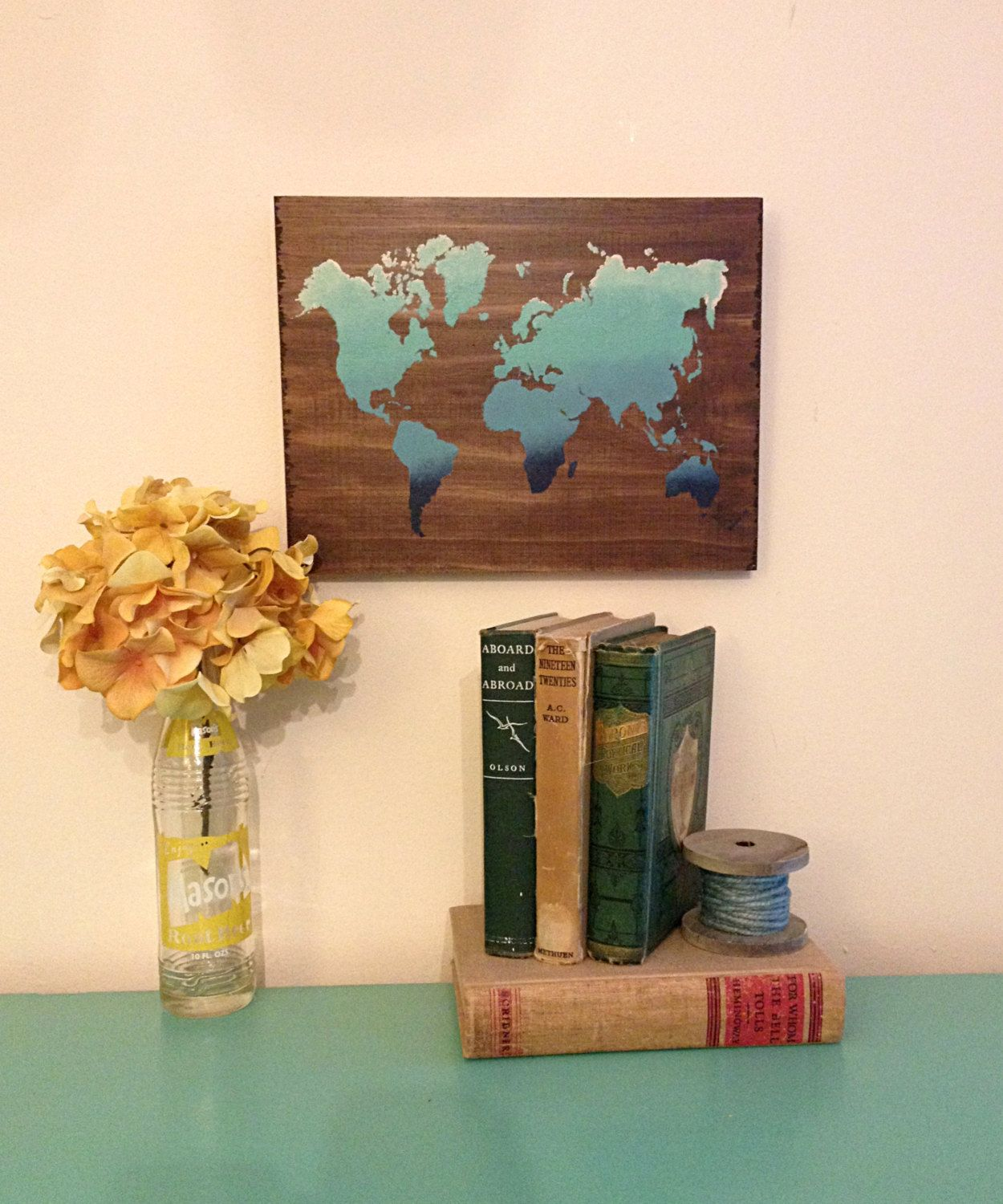 Abstract world map art blue gradient wooden map reclaimed wood abstract world map art blue gradient wooden map reclaimed wood world map gumiabroncs Gallery