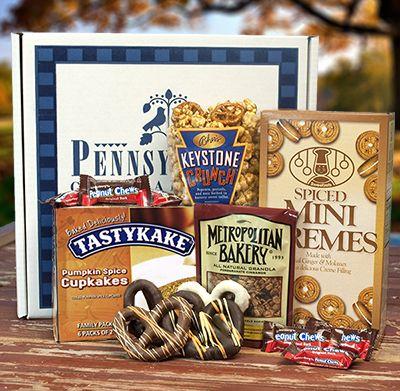 This fun, seasonal gift package is packed with Tastykake Spiced Pumpkin Cupcakes, Sweetzels Spiced