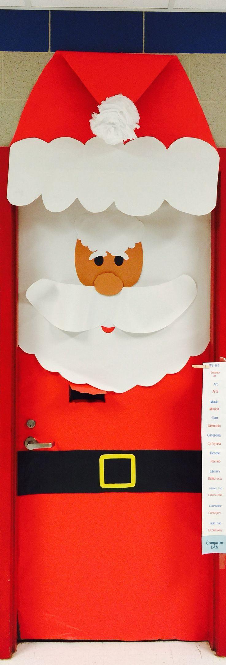 Pap noel santa claus santa door puerta navide a for Puertas decoradas santa claus