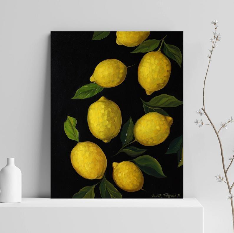 Lemons Oil Painting Original Art Canvas Wall Art Fruit Etsy Lemon Painting Oil Painting Original Art