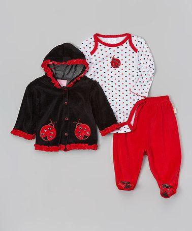 Look what I found on #zulily! Black & Red Ladybug Fleece Hoodie Set by Duck Duck Goose #zulilyfinds