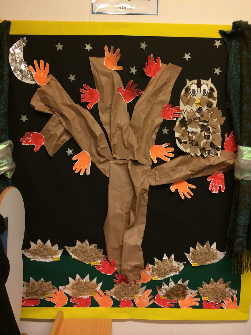 Autumn display at nursery - Hedgehogs made from shredded wheat and