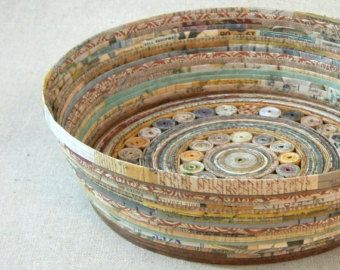 recycled coiled paper basket bowl medium earth tones handmade