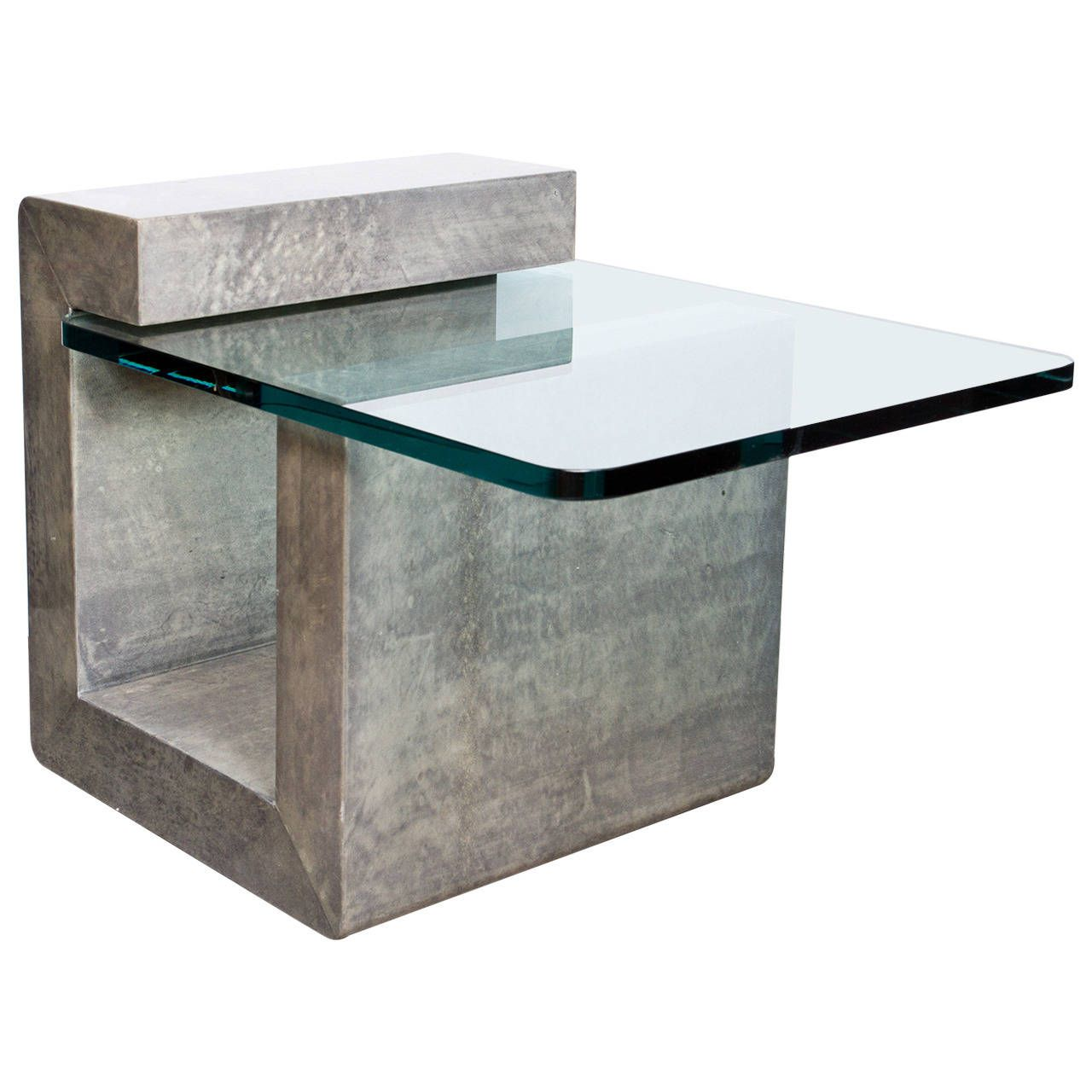 Modernist lacquered parchment side table tables unique for Small designer tables