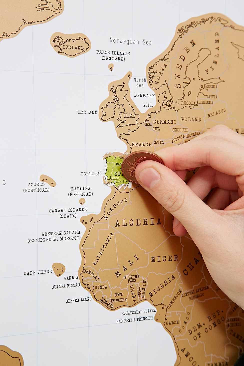 Scratch Map Landkarte Urban Outfitters Scratch
