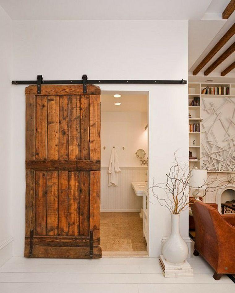 puertas deslizantes de madera Interiores para baños Pinterest