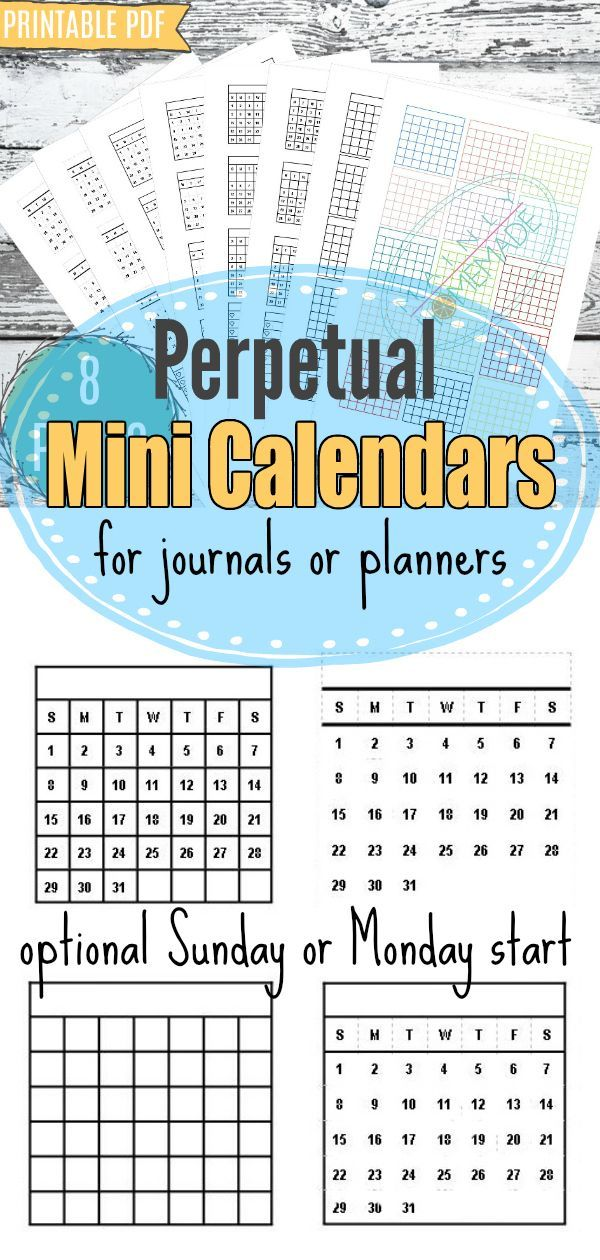 Printable - 8 Pages Mini Calendar Sticker Set, Bullet Journal - perpetual calendar template