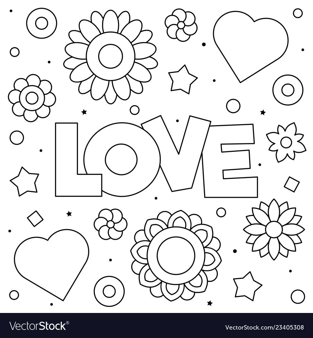 love coloring page black and white vector image on  love