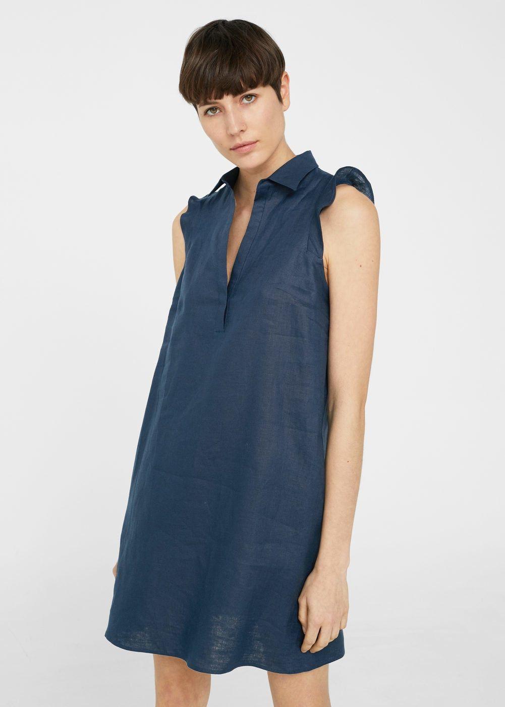 Linen Blend Shirt Dress Women Mango Usa Gomlek Elbise The Dress Elbiseler