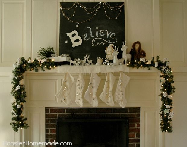 decorating a mantel for Christmas - Google Search CHRISTMAS WHITE