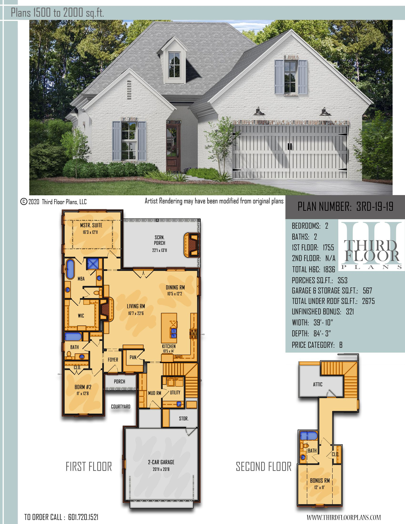 Plan # 3RD-19-19 in 2020 | Narrow lot house plans, Courtyard design, Brick  siding