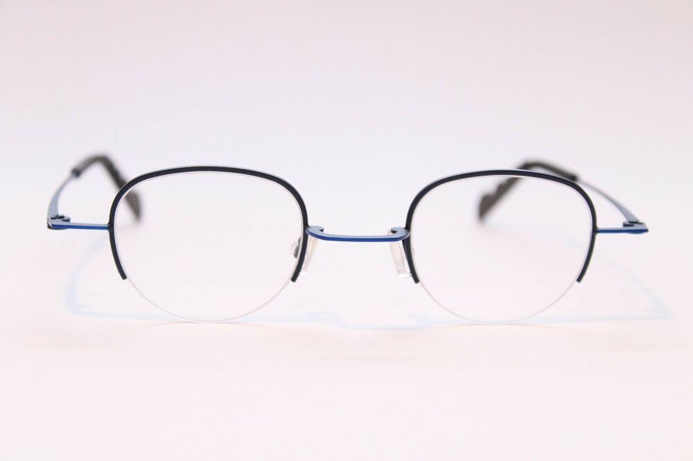 Brille Fassung Blau Seitlich Randlos Musterbügel Metall Damen Pro Design Size M Sonnenbrillen Brillenfassungen